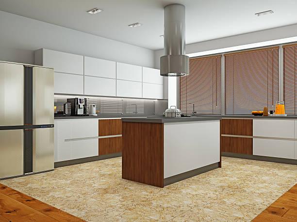 Interieur des modernen Küche 3D-Abbildung  – Foto