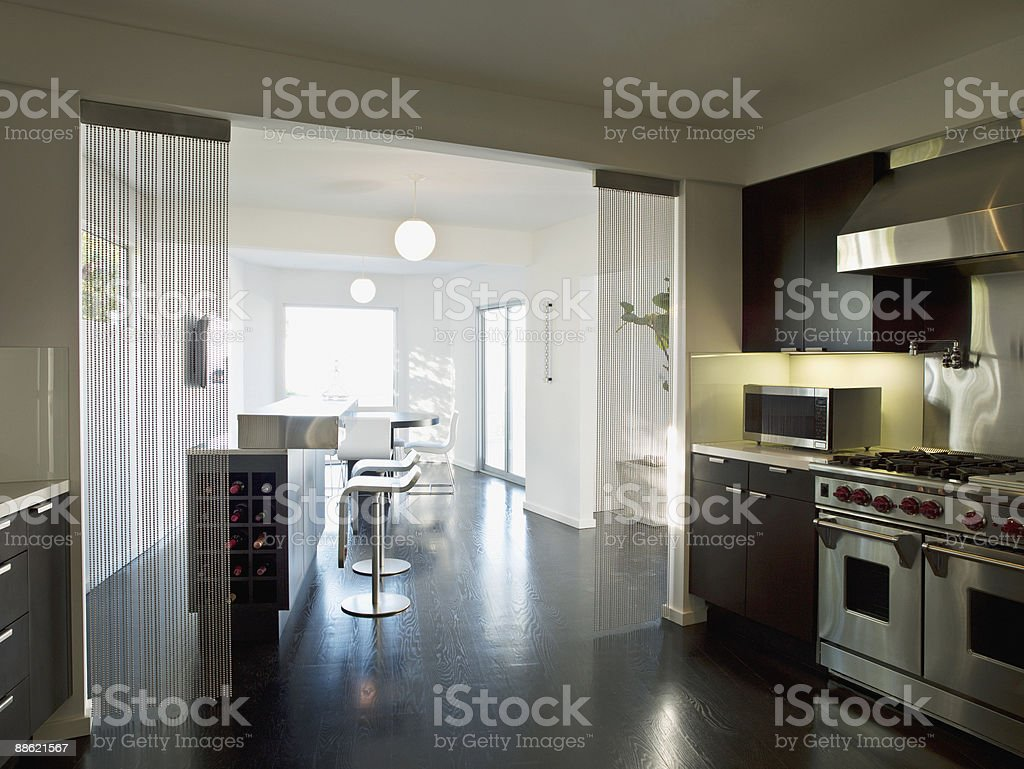 Interior of modern kitchen and dining area royalty-free stock photo