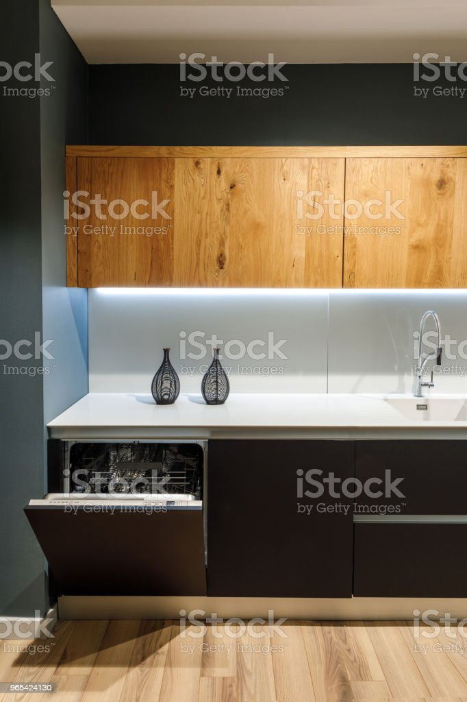 Interior of modern kitchen with built-in dishwasher royalty-free stock photo