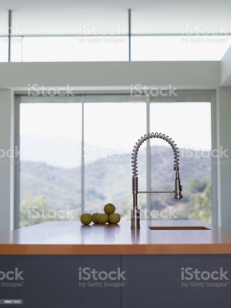 Interior of modern kitchen with spray nozzle royalty-free stock photo