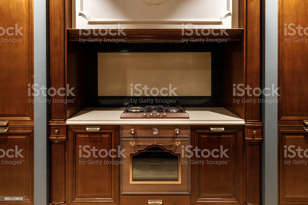 Interior of modern kitchen with stove and oven royalty-free stock photo
