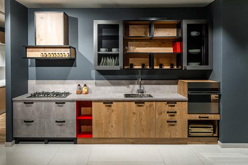 現代廚房內飾與時尚設計 照片檔及更多 住宅廚房 照片