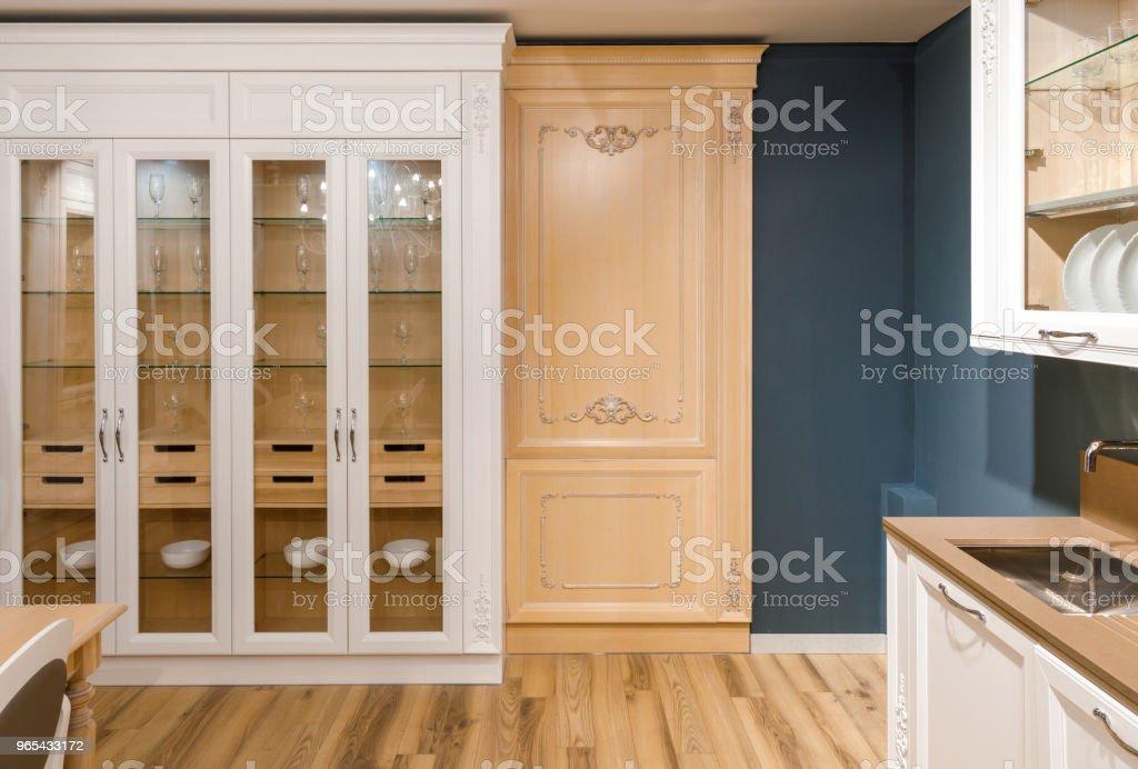 Interior of modern kitchen with stylish design zbiór zdjęć royalty-free