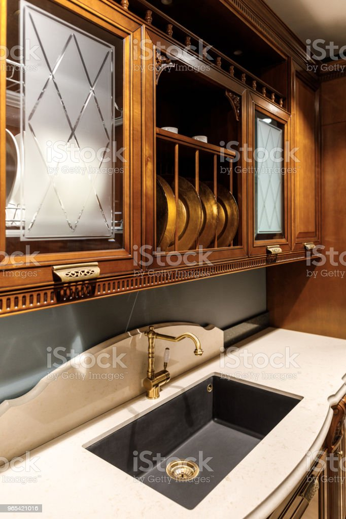 Interior of modern kitchen with vintage style sink zbiór zdjęć royalty-free