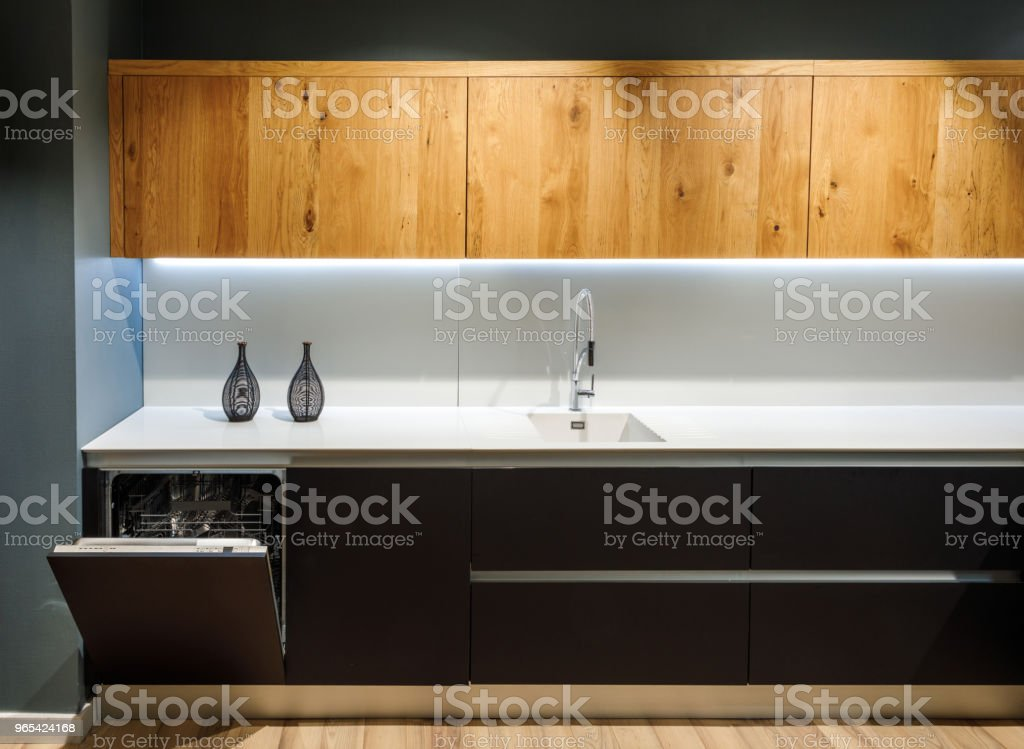 Interior of modern kitchen with white counter royalty-free stock photo