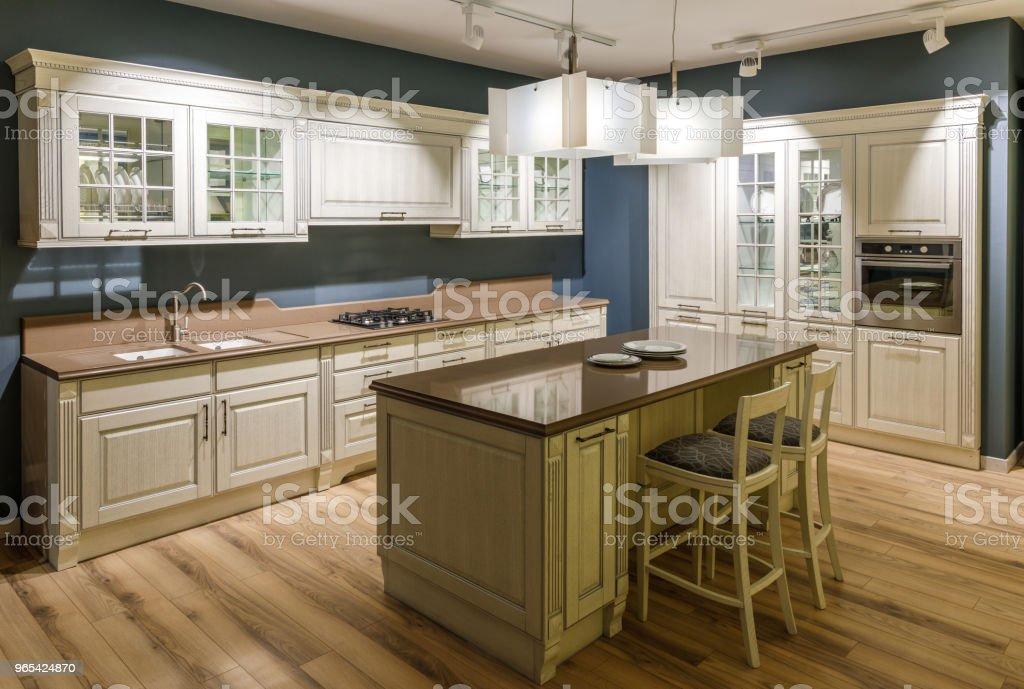 Interior of modern kitchen with wooden cabinets zbiór zdjęć royalty-free
