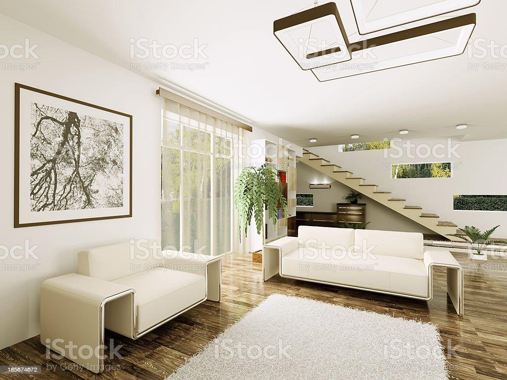 Interni Moderni Di Case : Interni moderni di render d soggiorno fotografie stock e altre