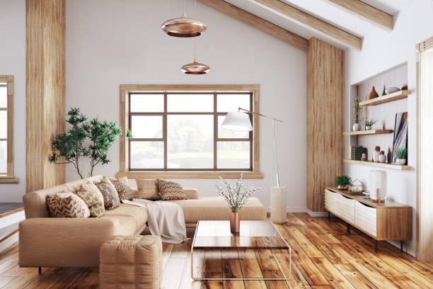 モダンなリビング ルーム 3 d レンダリングのインテリア - 室内装飾 ストックフォトと画像