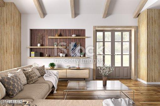 Modern interior design of house, living room with beige sofa, door 3d rendering