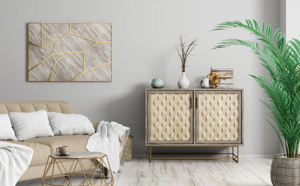 interior of modern living room 3d rendering - sideboard imagens e fotografias de stock