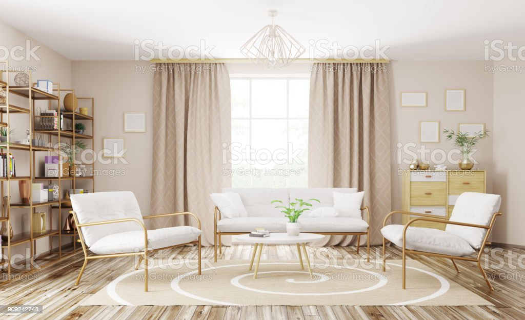 Interior of modern living room 3d rendering royalty-free stock photo