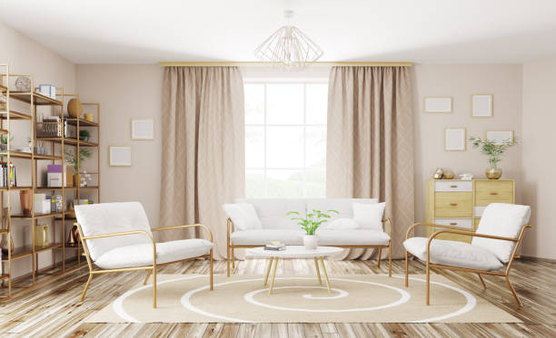 interior of modern living room 3d rendering - curtain stock pictures, royalty-free photos & images