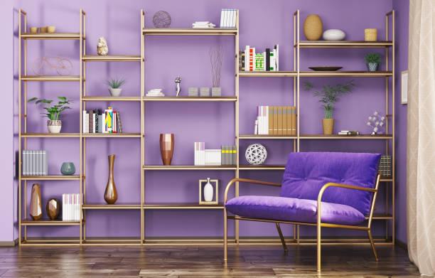 interieur des modernen wohnzimmer 3d-abbildung - wanddekoration metall stock-fotos und bilder