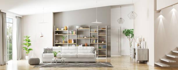 interior of modern living room panorama 3d rendering - panorâmica imagens e fotografias de stock