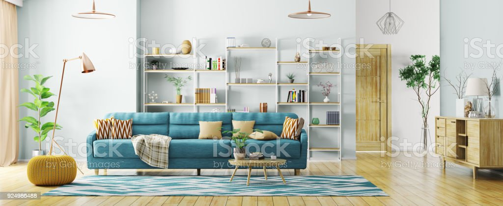 Interior of modern living room panorama 3d rendering royalty-free stock photo
