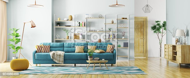 istock Interior of modern living room panorama 3d rendering 924986488