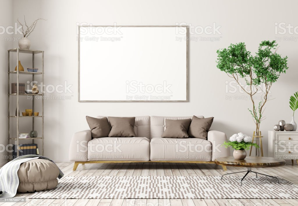 Interior Of Modern Living Room With Beige Sofa And Big Mock Up Poster 3d Rendering Stock Photo Download Image Now Istock