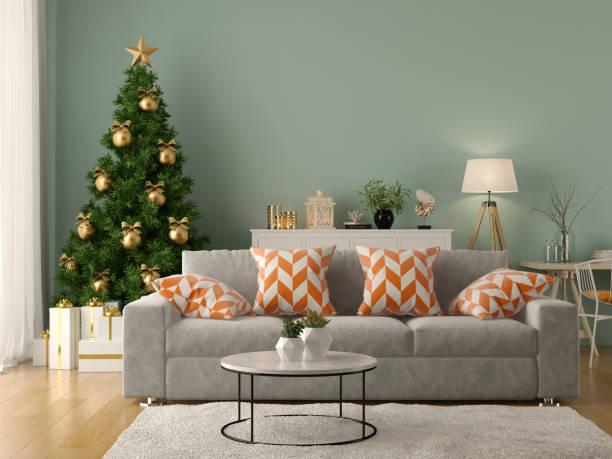 innere des modernen wohnzimmer mit weihnachtsbaum 3d-rendering - weihnachten haus dekoration stock-fotos und bilder