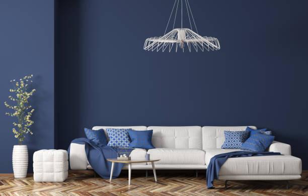 interiör av moderna vardags rum med vit tyg soffa över blå vägg 3d-rendering - vardagsrum bildbanksfoton och bilder