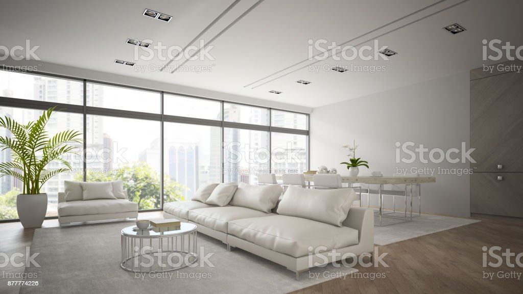Interieur van moderne loft met witte bank d rendering stockfoto