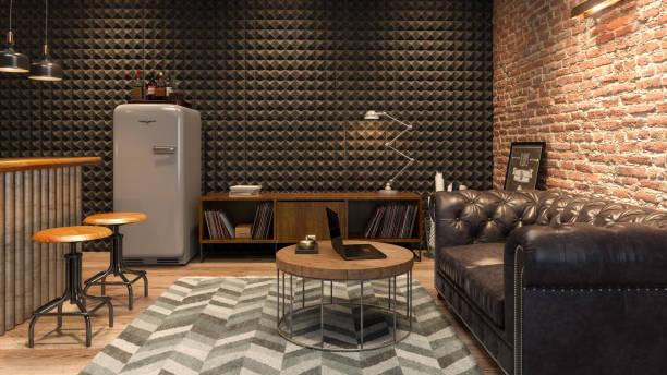 interior del hombre moderno sala de estar con barra de renderizado 3d - basement fotografías e imágenes de stock