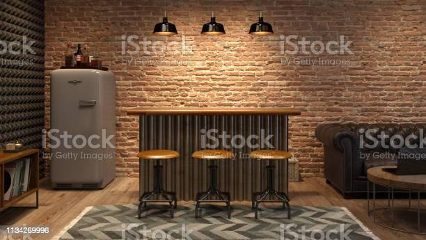 Interior of modern man living room with bar 3d rendering picture id1134269996?b=1&k=6&m=1134269996&s=612x612&h=0awhv06amuj7oc2z1sajgvht dsphsae4z8xmc tvno=