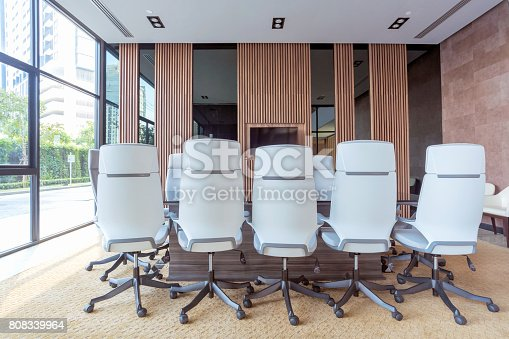 istock Interior of modern meeting room and conference room 808339964