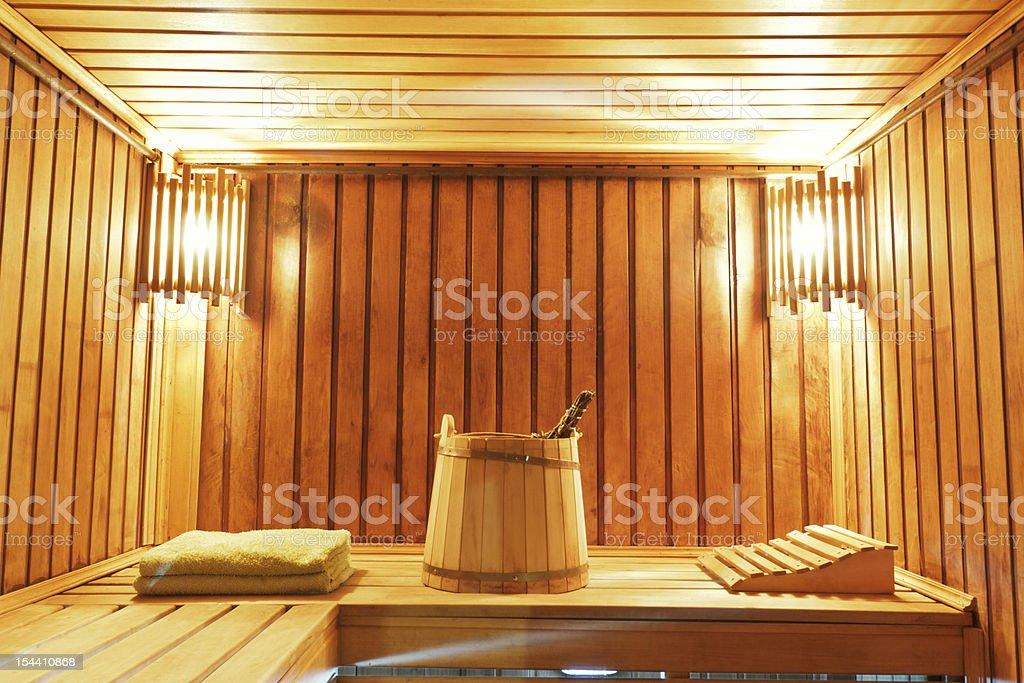 Interior of modern sauna cabin royalty-free stock photo