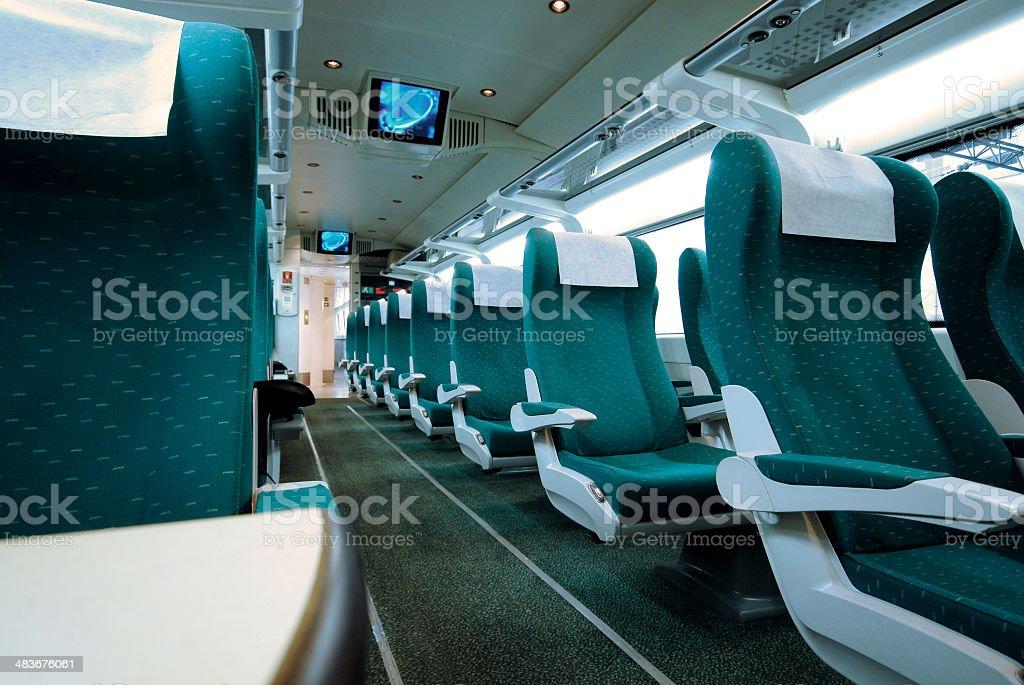 Interior of modern train stock photo