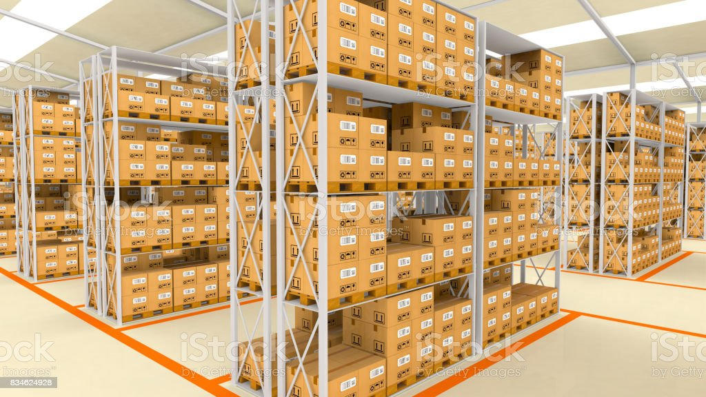 Interior of modern warehouse. stock photo