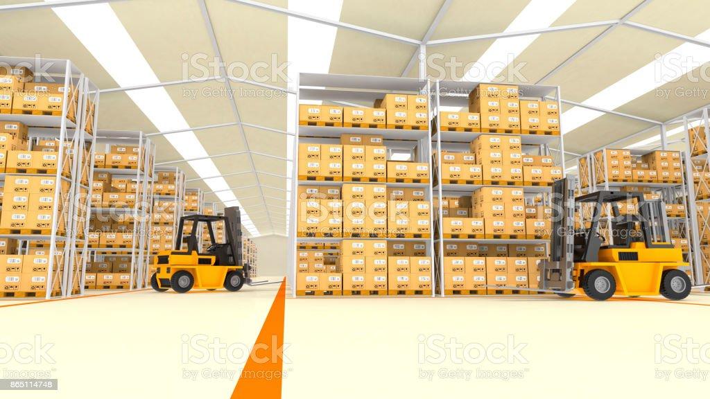 Interior of modern warehouse stock photo