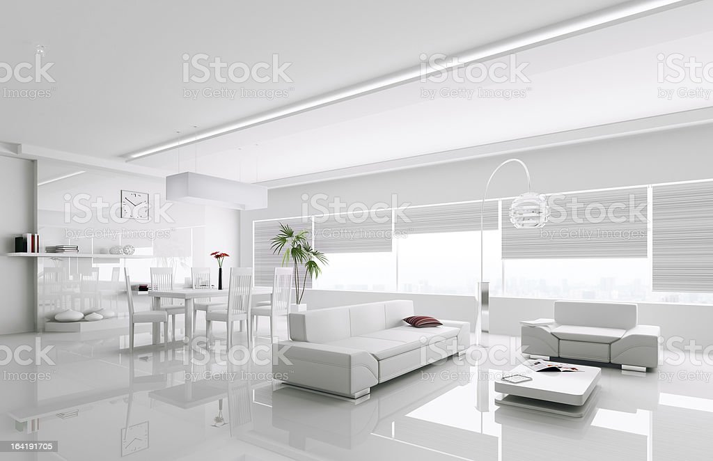 Interior of modern white apartment 3d royalty-free stock photo