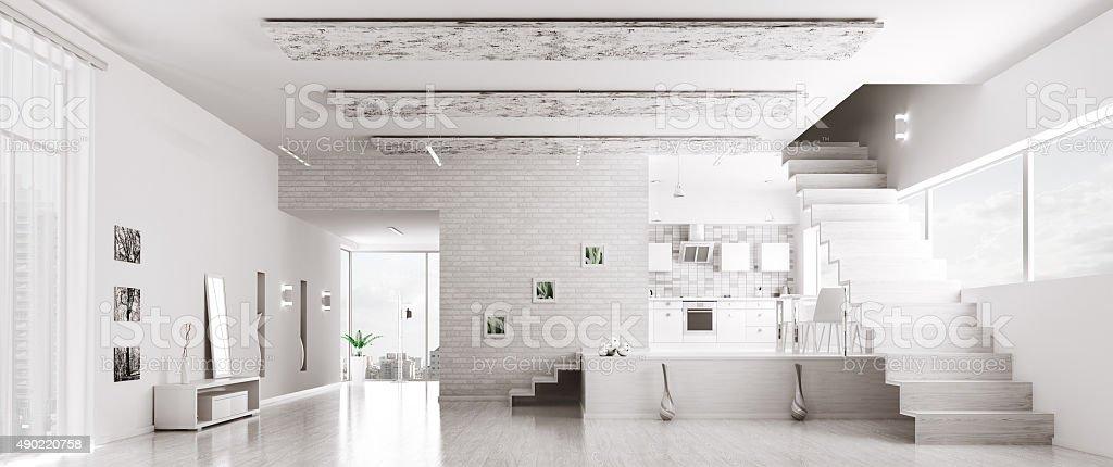 Interior of modern white apartment panorama stock photo