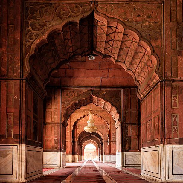 interior of mosque jama masjid, delhi, india - tapınak stok fotoğraflar ve resimler
