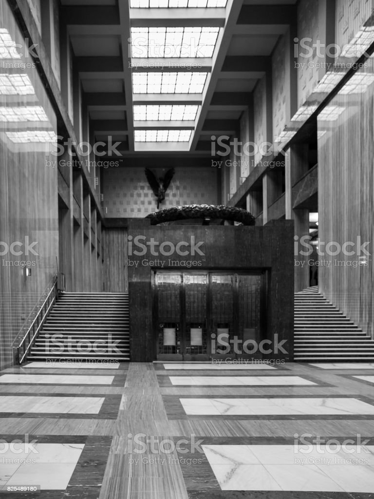 Interior of National Memorial on the Vitkov Hill in Prague stock photo