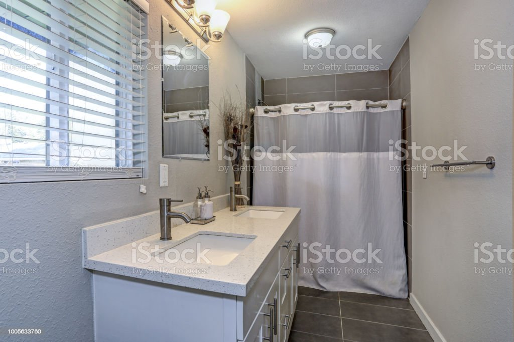 Interior Of Neutral Bathroom With Double Vanity Cabinet Stock Photo Download Image Now Istock