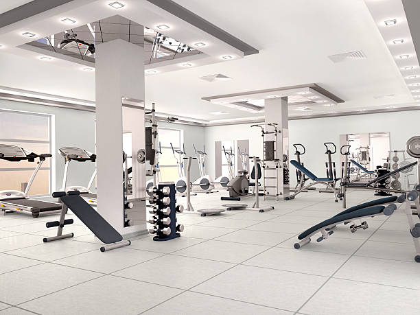 interior of new modern gym with equipment. 3d illustration - health club stock photos and pictures