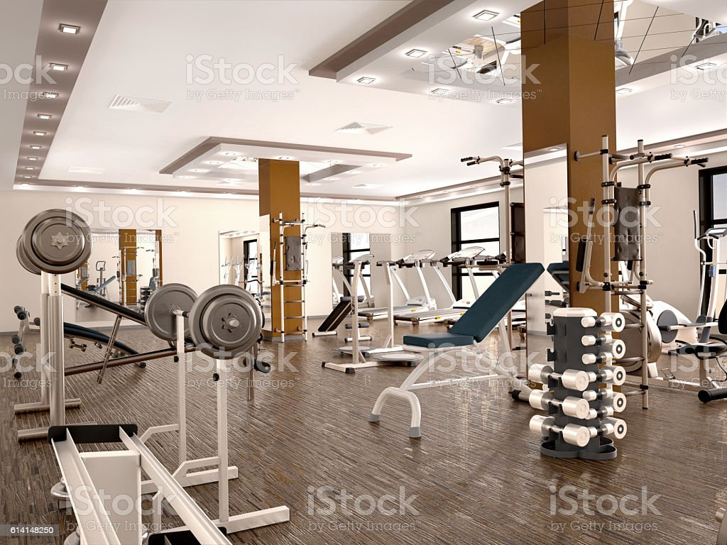 interior of new modern gym with equipment. 3d illustration stock photo