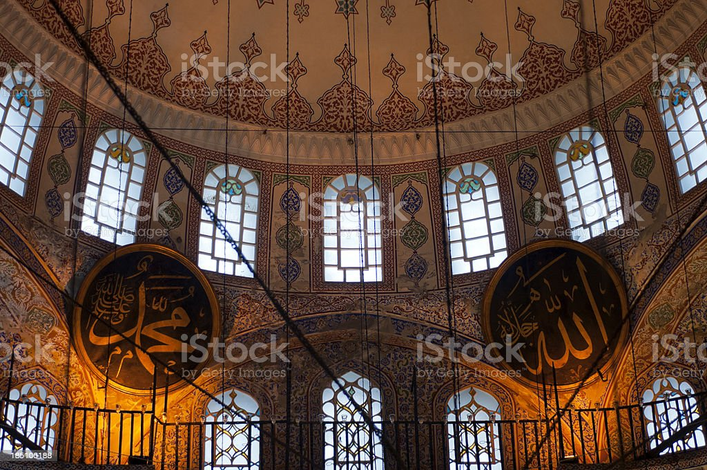 Interior of New Mosque, Yeni Cami in Istanbul, Eminonu, Turkey royalty-free stock photo