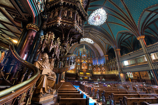 Interior Of Notre Dame Basilica Montreal Quebec Canada Stock Photo - Download Image Now