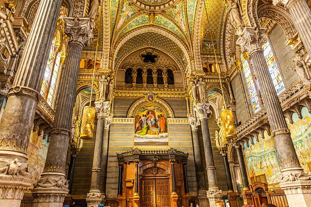 interior of notre-dame de fourviere basilica in lyon - kathedrale von notre dame stock-fotos und bilder