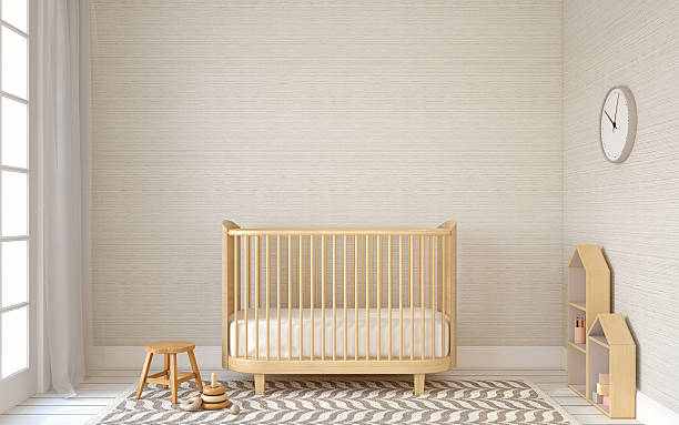 Interior of nursery. 3d render. Interior of nursery in scandinavic style. 3d render. crib stock pictures, royalty-free photos & images