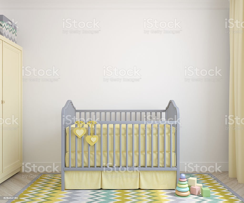 Interior of nursery. 3d render. stock photo