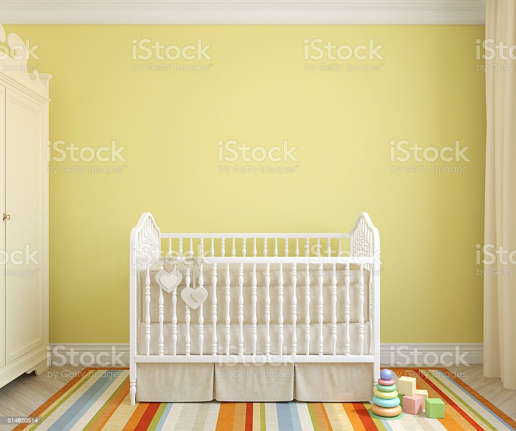 Interior of nursery. 3d rendering. stock photo