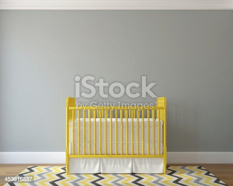 Interior of nursery with vintage yellow crib. 3d render.