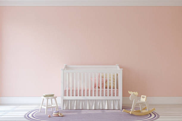 Interior of nursery. Interior of nursery. Mockup. 3d render. crib stock pictures, royalty-free photos & images