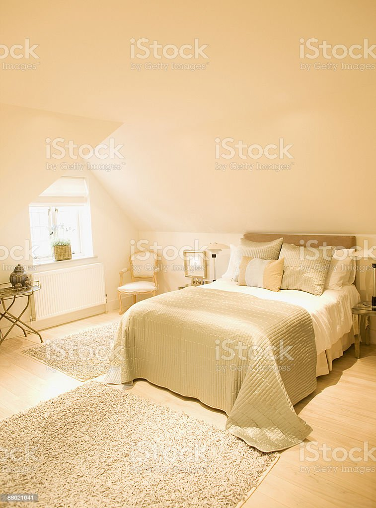 Interior of off-white bedroom royalty-free stock photo