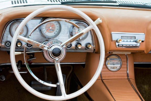 Interior of Old American Car stock photo