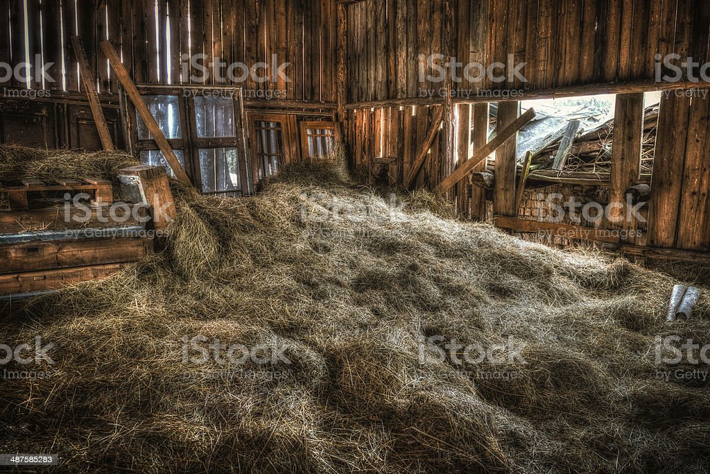 Interior of old barn. stock photo