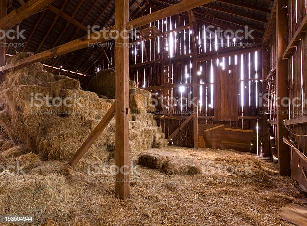 Photo of Interior of old barn with straw bales